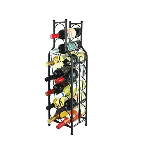 Oenophilia Wine Bottle Matrix Holder Wine Rack, 12 Bottle Freestanding Floor Wine Storage , Sturdy Metal Matte Black Construction, Foldable, Wine Bottle Shaped Design