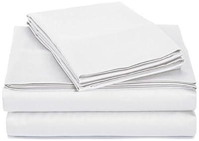 Amazon Basics 400 Thread Count Sheet Set, Queen, White