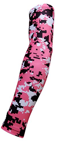 Sports Farm New! Moisture Wicking Compression Arm Sleeve (Pink Digital Camo, Youth Medium)