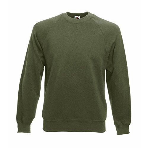 Fruit of the Loom Basic Raglan Sweatshirt (L, Grün (Classic Olive))