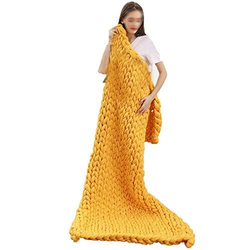QWERTYUKJ Manta de lujo de punto grueso, hecha a mano, acogedora, tejida a mano, magnífica, trenzada, moderna, para ropa de cama suave, decoración de dormitorio (color: amarillo, tamaño: 60 x 60 cm)