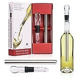 ATIN Refroidisseur de bouteille de vin 3 en 1 en acier inoxydable avec aérateur et bec verseur