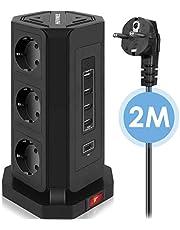 HOVNEE Stekkerdoos, Meervoudige Stekkerdoos, 9-voudige Stekkertoren (2500 W/10 A) met 4 USB-A en 1 USB-C Laadaansluitingen en 2,0 m Kabel (5V/3,1 A), Overspanningsbeveiliging en Kortsluitingsbeveiliging