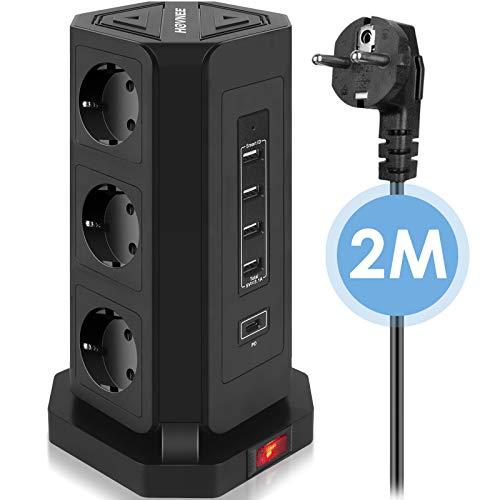 HOVNEE Steckdosenleiste Mehrfachsteckdose 9 Fach Steckdosenturm (2500W/10A) mit 4 USB-A und 1 USB-C Ladeanschlüsse und 2,0 m Kabel (5V/3,1 A),Überspannungsschutz und Kurzschlussschutz