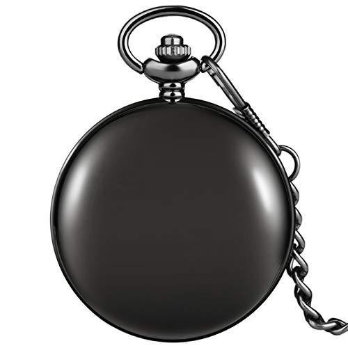 ZHAOXIANGXIANG Reloj De Bolsillo Retro,Moda Clásico Negro Brillante Retro Antiguo Reloj De Bolsillo Movimiento De Cuarzo Reloj De Bolsillo Grande Hombres Mujeres Cadena Colgante Regalo