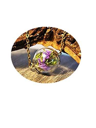 Un verde musgo y Sweet morado mar lavanda en cristal Orb terrario collar