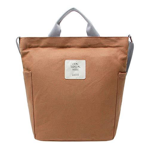 ZhengYue Women Canvas Tote Bag Shopping Handbag Shoulder Cross Body School Bag Ladies Casual Chic Bags Brown