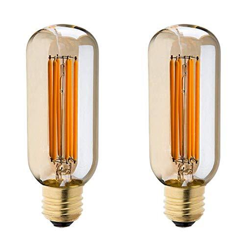 SHKUU T45 Bombilla LED Retro Edison LED T45 Bombilla de filamento T45 Bombilla LED Tubular Regulable 6W 2200 K Blanco cálido, Apto para iluminación de decoración del hogar, 2 Piezas
