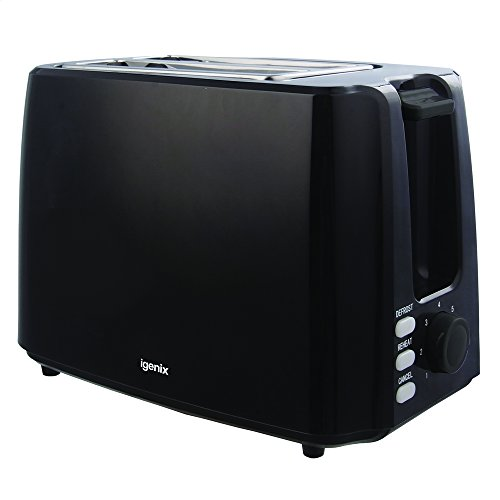 Igenix Slice Toaster, Deep Slots and Adjustable Browning Control, Removable Crumb Tray for Easy Cleaning, Defrost and Reheat Function