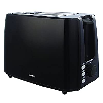 Igenix IG3012 2 Slice Toaster, Deep Slots and Adjustable Browning Control, Removable Crumb Tray for Easy Cleaning, Defrost and Reheat Function, 750 W, Black