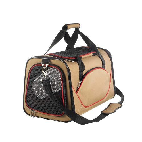 HUNTER Kansas Tragetasche, Transporttasche für Hunde und Katzen, 48 x 30 x 30 cm, beige/rot
