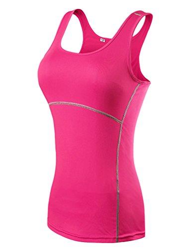ZKOO Donna Sport Esercizio Formazione Fitness Yoga Quick-Drying Senza Maniche Gilet Maglietta Canotte Vest Rosa S