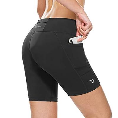 BALEAF Women's 7 Inches Workout Running Shorts Yoga Comprssion Shorts Side Pockets Black Size M