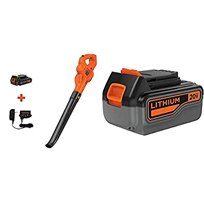 BLACK+DECKER 20V MAX Sweeper with Extra 4-Ah Lithium Ion Battery Pack (LSW221 & LB2X4020)