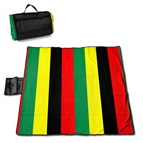 GuyIvan Outdoor Picknick Decke Rasta Jamaica Raggae Sanddichte Strandmatte Tote für Camping Wandergras Reisen