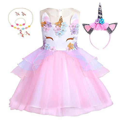 Yigoo Einhorn Tutu Kleid Mädchen Prinzessin Kostüm Festival Rock für Cosplay Karneval Halloween Geburtstagskleid mit Einhornhaarband Rosa 120