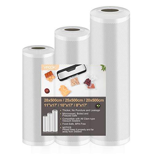 VPCOK 3 in 1 Vakuumbeutel Set, 28x500cm/25x500cm/20x500cm, folienbeutel für alle Vakuumierer und für Sous Vide geeignet, BPA frei, wiederverwendbar und Lebensmittelecht (Mehrweg)