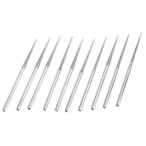 10 Uds accesorios Mini taladro cabezal de pulido de diamante juego de brocas de vástago de 3 mm herramienta de pulido para herramienta giratoria punta trigonométrica, A