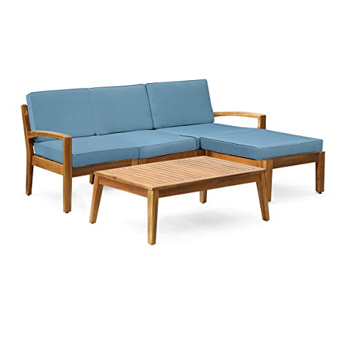 Grenada Sectional Sofa Set | 5-Piece 3-Seater | Includes Coffee Table and Ottoman | Acacia Wood Frame | Water-Resistant Cushions | Teak and Blue