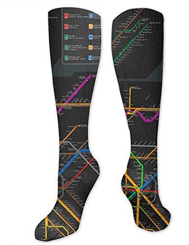 New York metro kaart unisex sport over-de-kalf lange buis kousen 19,7 inch