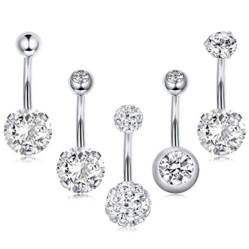 Thunaraz 5 Pieces 14G Stainless Steel Belly Button Rings for Women Crystal CZ Ball Screw Navel Bars, Silver Tone.