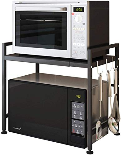 COMINGFIT Rejilla de horno de microondas, estante de microondas extensible y ajustable en altura, estante de cocina de 2 niveles y...