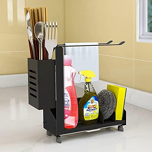 WOODFIB Spülbecken Organizer, Küchen Organizer Küchenutensilienhalter fur Aufbewahrung Küche Caddy, Aluminium + Kohlenstoffstahl Küchen Zubehör (Schwarz, 24 x 20.5 x 8.5 cm)