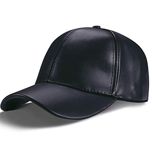 LIVACASA Cappello da Baseball Donna Uomo 54-60CM Berretto Casual con Visiera in Pelle Regolabile per Sport Nero