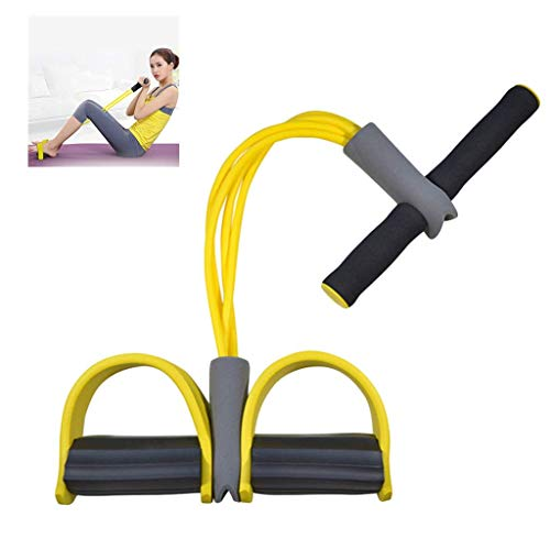 Multi-Function Tension Rope, Bodybuilding Expander Elastischen Widerstand Band Yoga SportgeräTe Taille Arm Beintrainer Tragbare Home Gym GeräT FüR Fitness Abnehmen Training (Gelb)
