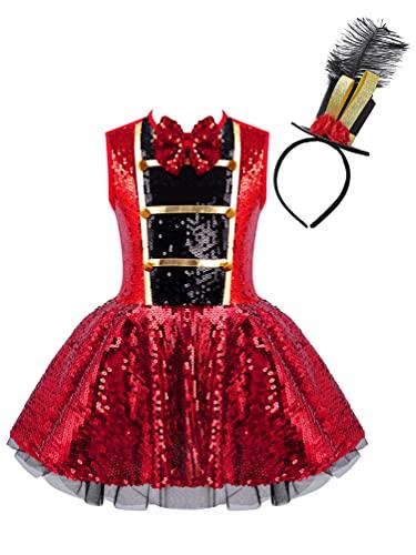 dPois Disfraz de Circo para Nia Disfraz Halloween 2 Pcs Vestido Fiesta Ceremonia Vestido Lentejuela con Sombrero de Copa Corbata Cosplay Nia Rojo 10