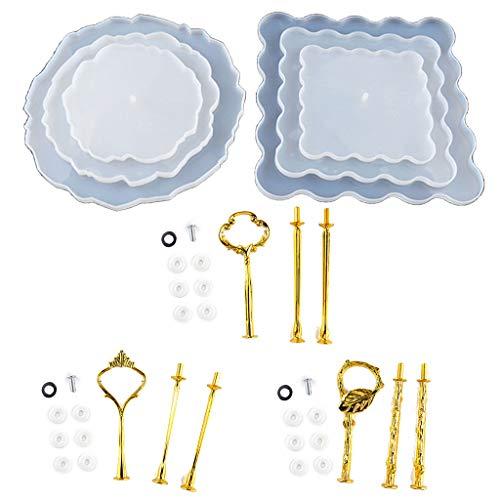 3 Etagen, unregelmäßig, quadratisch, für Kuchen, Obst, Lebensmittel, große Teller, Ständer, Kunstharz, Gießform, Silikon, merhfarbig, M