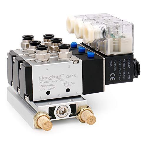 Heschen Electroválvula neumática triple solenoide 4V210-08 DC 24V PT1/4 5 vías 2 posiciones manifold base silenciador rápido conjunto