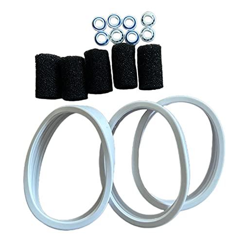 MERIGLARE 3 neumáticos para limpiador de piscinas con 8 cojinetes + 5 algodones de repuesto para Polaris 180280