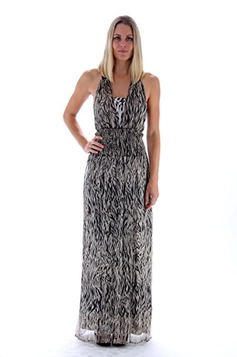 LIU JO Langes Seidenchiffon Damen Kleid Beige Schwarz Größe 44