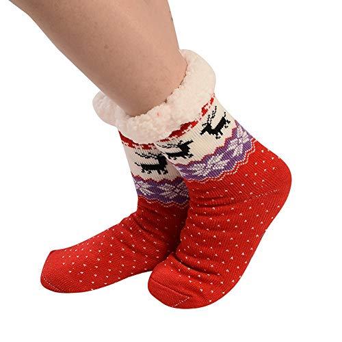 Femme Hiver Chaussettes, épaisses Noël Wapiti Imprimé Coton Chaussette Chaud Antidérapantes Chaussons Bringbring