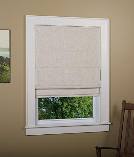Green Mountain Vista Linen Blend Blackout Cordless Roman Shade Size 30' W x 63' L - Color: Linen