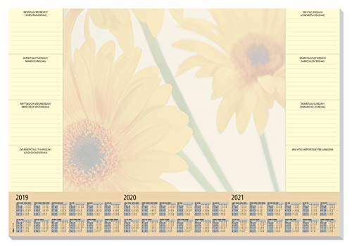 SIGEL HO380 Papier-Schreibunterlage, ca. DIN A2 - extra groß, mit 3-Jahres-Kalender und Wochenplan, 30 Blatt - weitere Designs