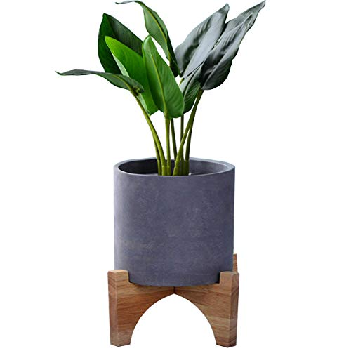 TIHOOD 7' Bamboo Plant Stand - Mid Century Plant Stand - Modern Plant Stand - Indoor Ceramic Pot/Planter Holder - Foldable Plant Stand - Plant Holder