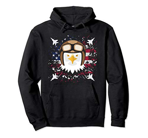 Bald Eagle Jet Fighter Pilot Clipart Graphic USA Flag Pullover Hoodie