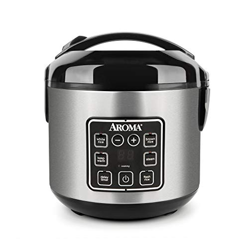 Aroma Housewares ARC-914SBD 2-8-Cups (Cooked) Digital Cool-Touch Rice Cooker and Food Steamer, Stainless Steel