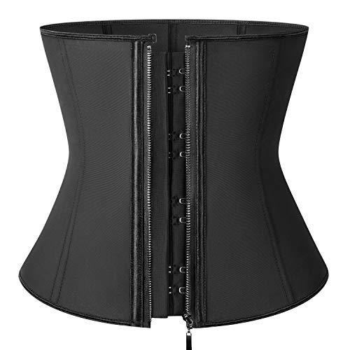 KIWI RATA Women's Zipper&Hook Hourglass Latex Underbust Corset Waist Training Body Shaper,Black,XXXX-Large