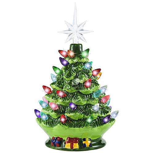 Joiedomi 9.5' Ceramic Christmas Tree with Gift Box, Prelit Tabletop Christmas Tree with Extra Yellow Star Topper & Bulbs...