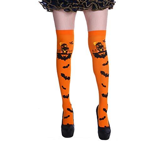 Halloween Strümpfe mit Fledermaus Spukhaus Muster Dekoration Kostüm Niedliches Festival Oberschenkel Hohe Socken Verwendet für Halloween Party Tanz Cosplay Karneval Spiel Events Urlaub (1 Paar)