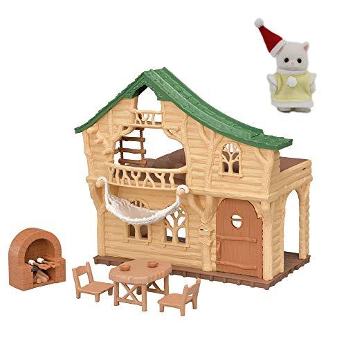 【メーカー特典あり】シルバニアファミリー お家 森のわくわくログハウス + ペルシャネコの赤ちゃん(クリスマス服)付き