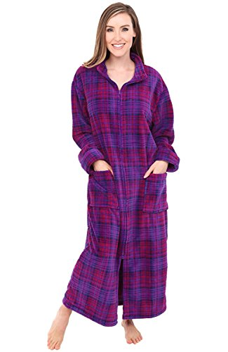 Alexander Del Rossa Women's Zip Up Fleece Robe, Warm Loose Bathrobe, Large XL Purple and Pink Plaid (A0300P74XL)