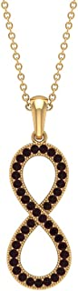 1/4 CT Infinity Necklace for Women with Pave Set Garnet (AAA Quality)