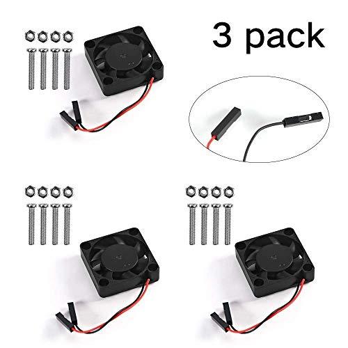 Accesorios de impresora para Raspberry Pi Fan DC 5V / 3.3V Ventilador de refrigeración sin escobillas con tornillos para Raspberry Pi 3 B + 3B 2B Accesorios de impresión 3D (Tamaño: 3 paquetes)
