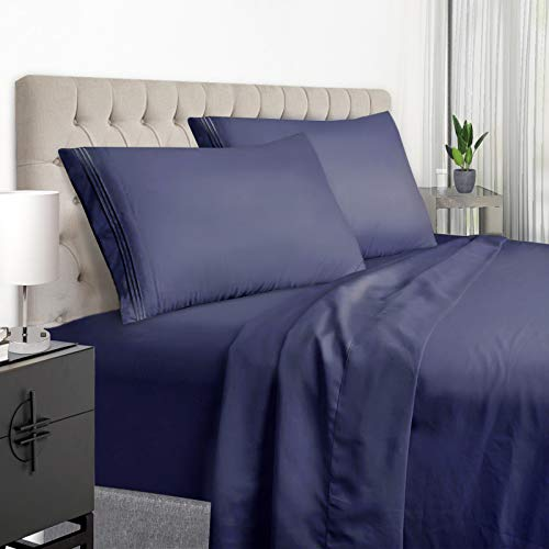 YumHome Luxury King Bed Sheets Set  Super Soft Brushed Microfiber 1800 Thread Count King Size Sheets with 15Inch Deep Pocket  Breathable Wrinkle and Hypoallergenic4 PieceKingNavy Blue