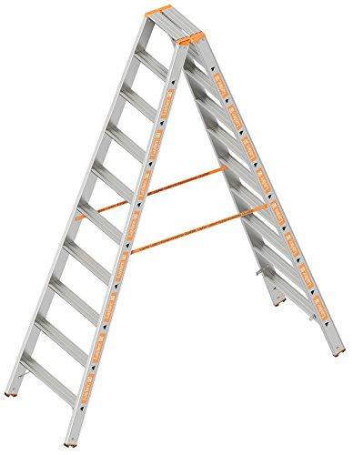 Layher 1043010 Stufenstehleiter Topic 10 Aluminiumleiter 2x10 Stufen 80 mm breit, beidseitig begehbar, klappbar, Länge 2.50 m