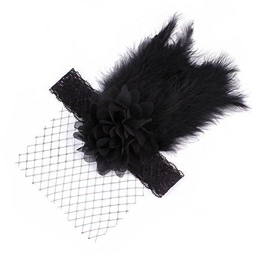 Lurrose Baby Lace Mesh Headwrap Fotografie Hoofdband Nieuwe kant Visnet met veer hoofdband (zwart)
